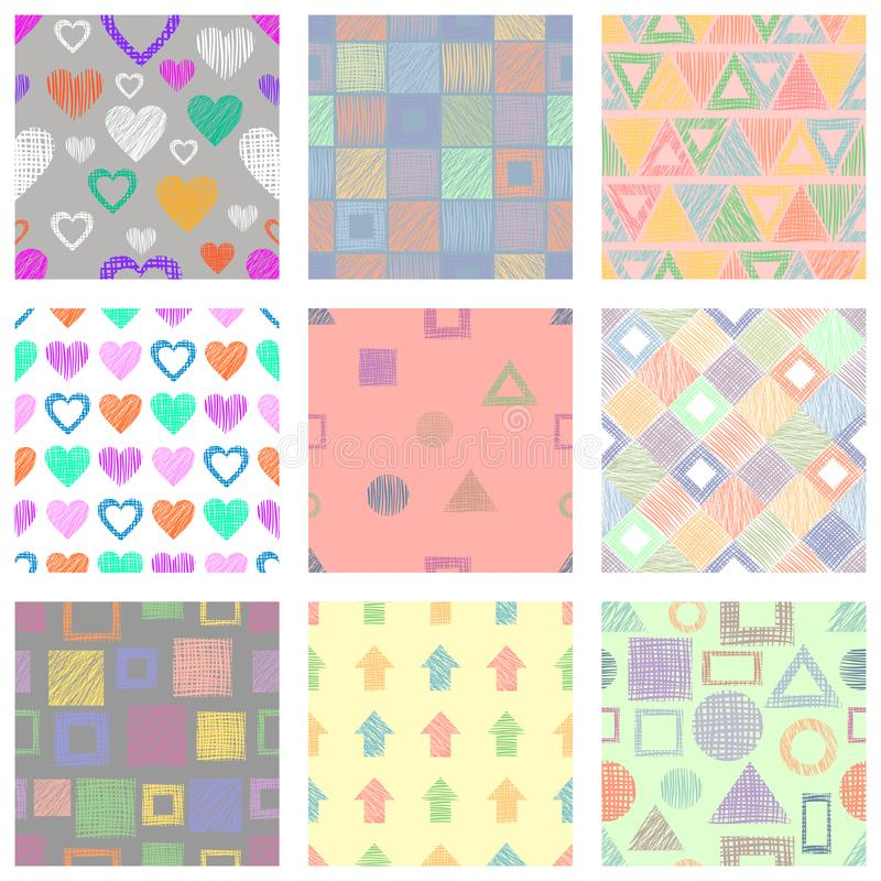 Set of seamless vector geometrical patterns with different geometric figures, forms. pastel endless background with hand drawn tex. Tured geometric figures stock illustration