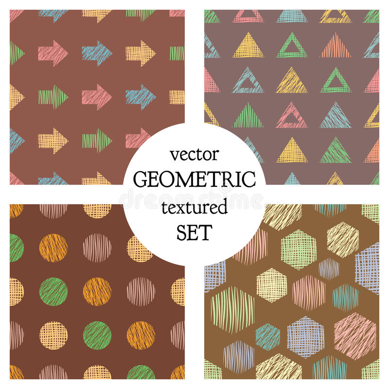 Set of seamless vector geometrical patterns with different geometric figures, forms. pastel endless background with hand drawn tex stock illustration