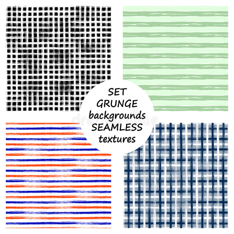 Set of seamless vector grunge geometrical patterns with hand drawn lines. Grungy striped, checkered backgrounds with horizontal, v royalty free illustration