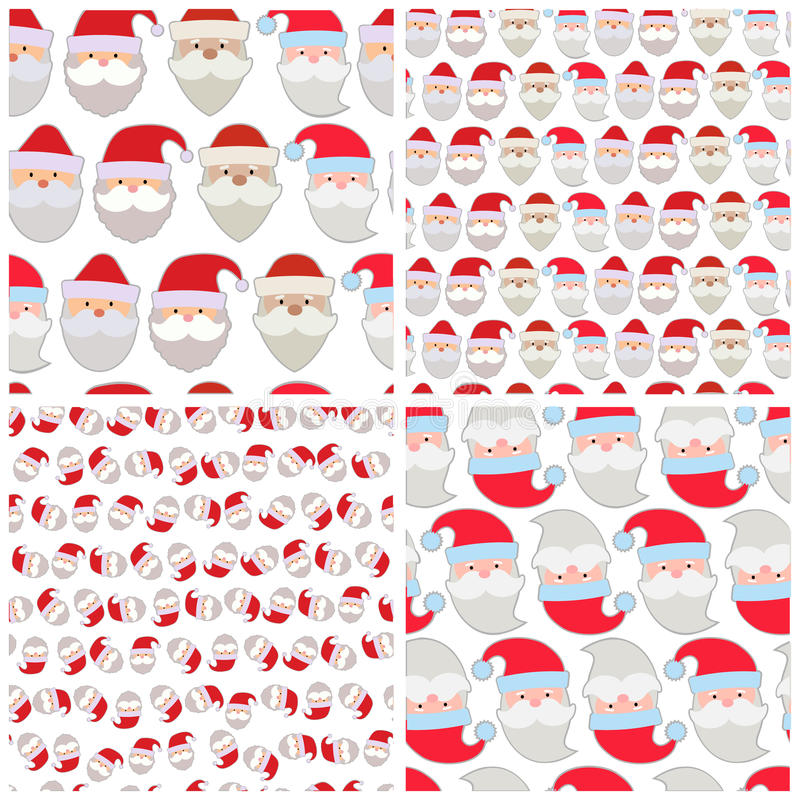 Set of seamless vector illustration of the faces of Santa vector illustration