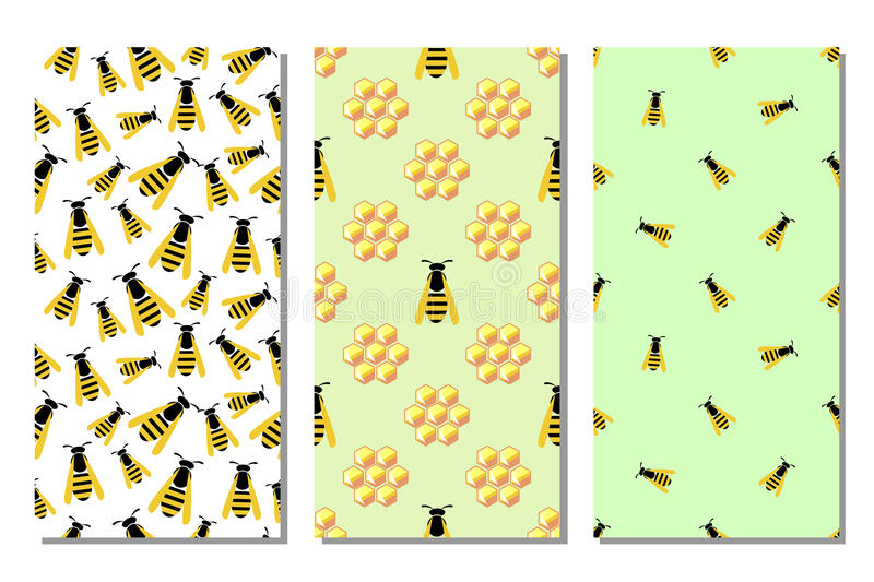 Set of seamless vector pattern with insects. Different bright backgrounds with honeycombs and wasps. Graphic illustration. Series of sets of vector seamless stock illustration