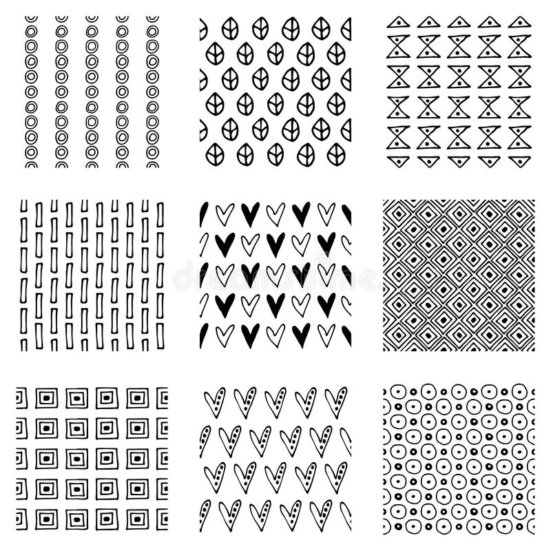 Set of seamless vector patterns. Black and white geometrical endless backgrounds with hand drawn geometric shapes, triangles, circ royalty free illustration