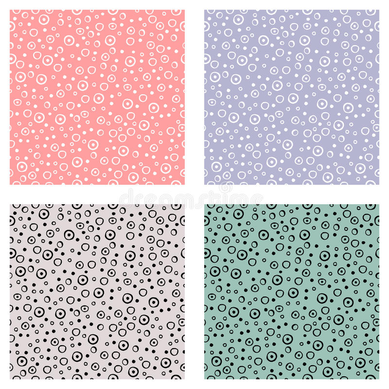 Set of seamless vector patterns with dots. Green, blue, pink backgrounds with hand drawn decorative elements. Decorative repeating stock illustration