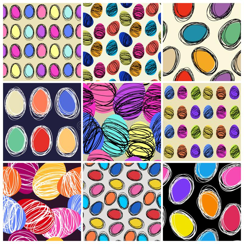 Set of seamless vector patterns with hand drawing eggs. Easter holiday background of doodle holiday symbol vector illustration