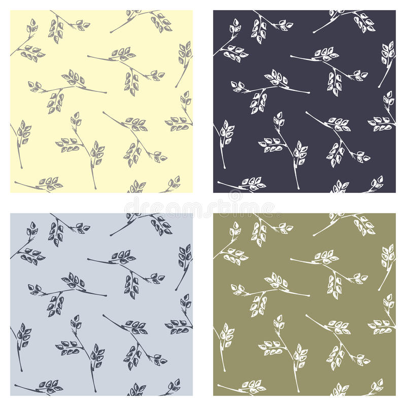 Set of seamless vector patterns, hand drawn backgrounds with branch and leaves. Hand sketch drawing. Doodle style. Series of Hand vector illustration