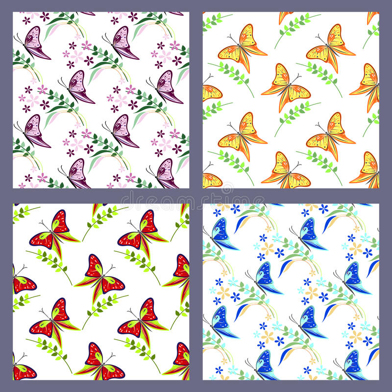 Set of seamless vector patterns with insects, colorful backgrounds with butterflies. Flowers and branches with leaves. Graphic illustration. Series - sets of vector illustration