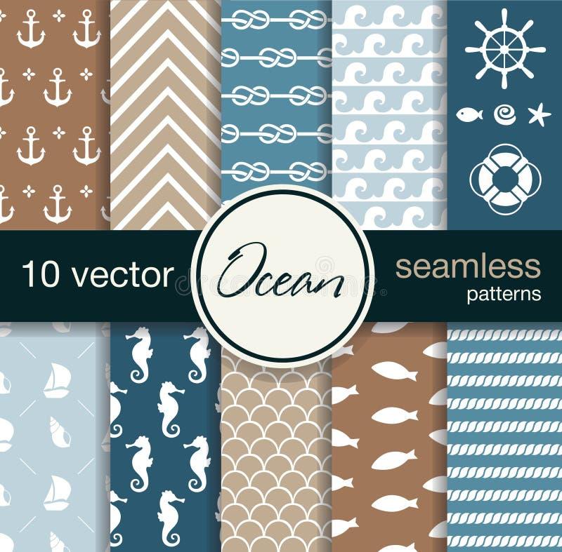 Set of 10 seamless vector patterns. Nautical theme. vector illustration