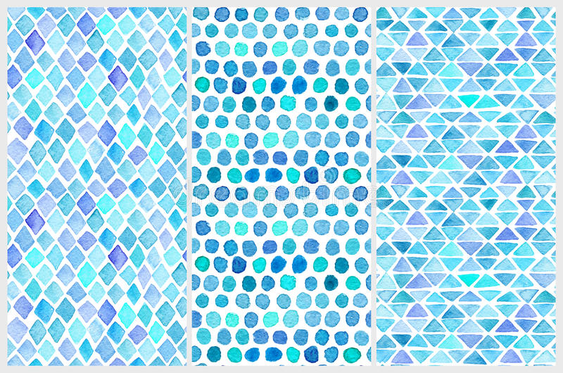 Download Set Of Seamless Watercolor Patterns. Simple Geometric Shapes.  Stock Illustration   Illustration Of