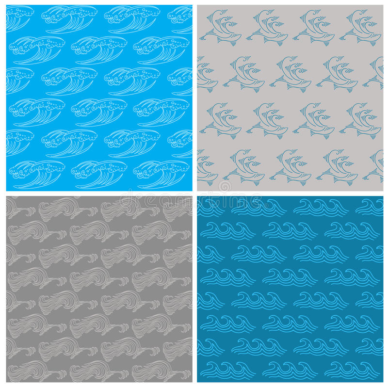 Download Set Of Seamless Waves Background Stock Vector - Illustration of blue, decor: 31306128