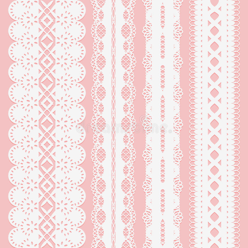Set of seamless white lace ribbons on a pink background for scrapbooking. royalty free illustration