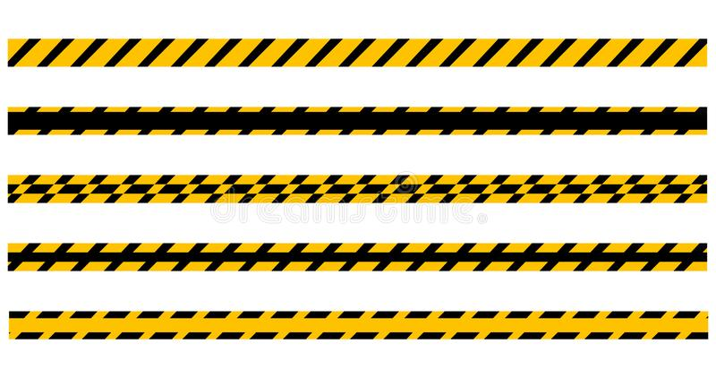 Set of seamless yellow and black warning tapes ready for your text. Vector illustration Isolated on white background royalty free illustration