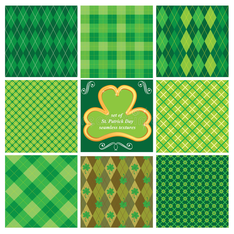 Set of seamlesspatterns for St. Patricks Day vector illustration