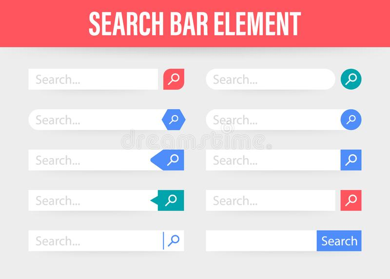 Set Search bar vector element design, set of search boxes ui template isolated on blue background. Vector stock illustration. Set Search bar vector element stock illustration