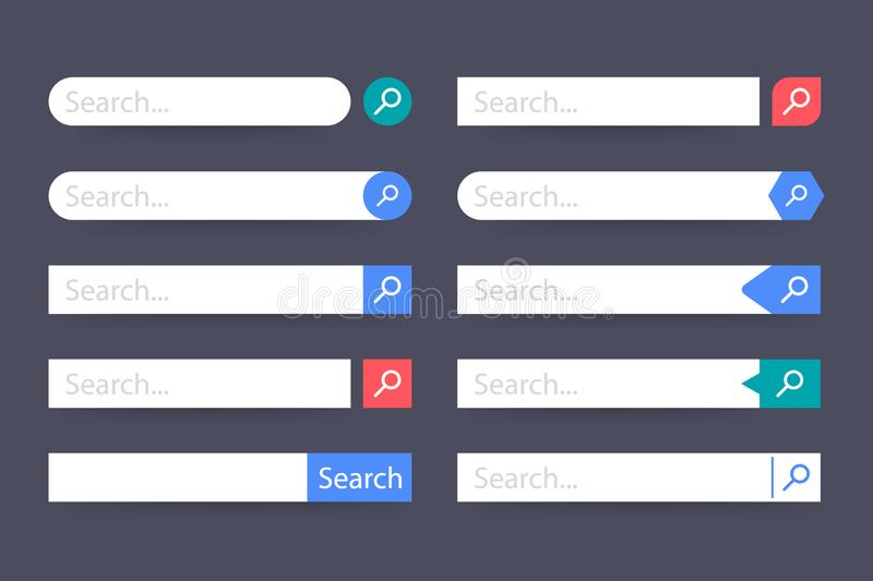 Set Search bar vector element design, set of search boxes ui template isolated on blue background. Vector stock illustration. Set Search bar vector element vector illustration