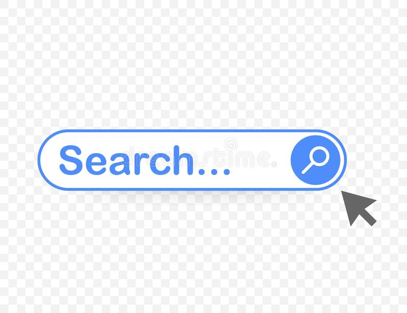 Set Search bar vector element design, set of search boxes ui template isolated on blue background. Vector stock illustration. Set Search bar vector element royalty free illustration