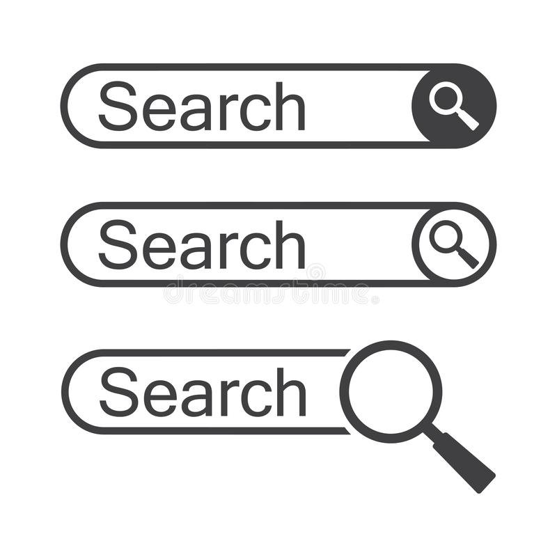 Set of search bars, template for internet searching. Web search field. Vector. Illustration royalty free illustration
