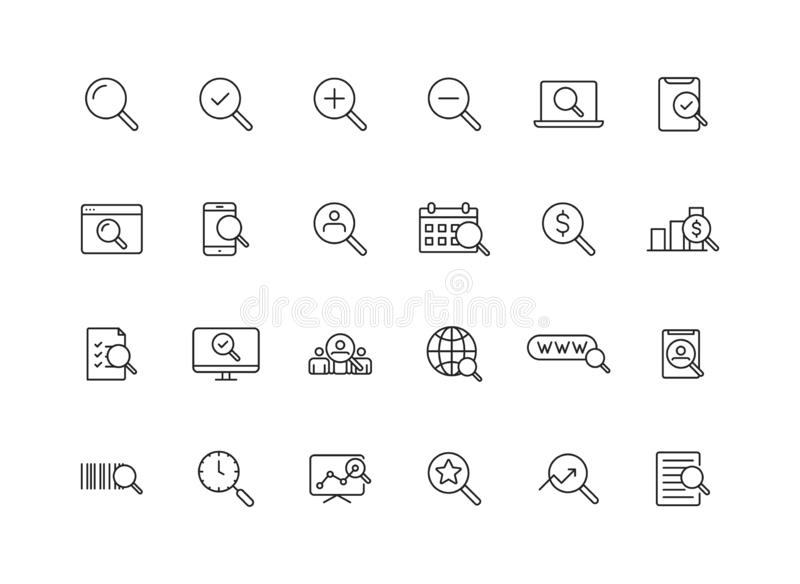 Set of 24 Search web icons in line style. SEO analytics, Digital marketing data analysis, Employee Management. Vector illustration.  vector illustration