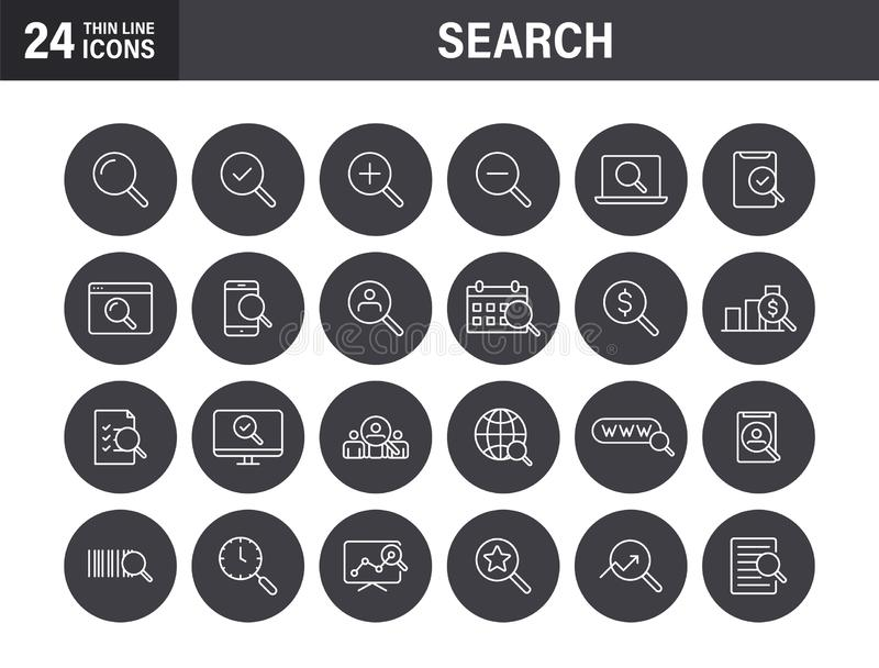 Set of Search web icons in line style. SEO analytics, Digital marketing data analysis, Employee Management. Vector illustration royalty free stock photography