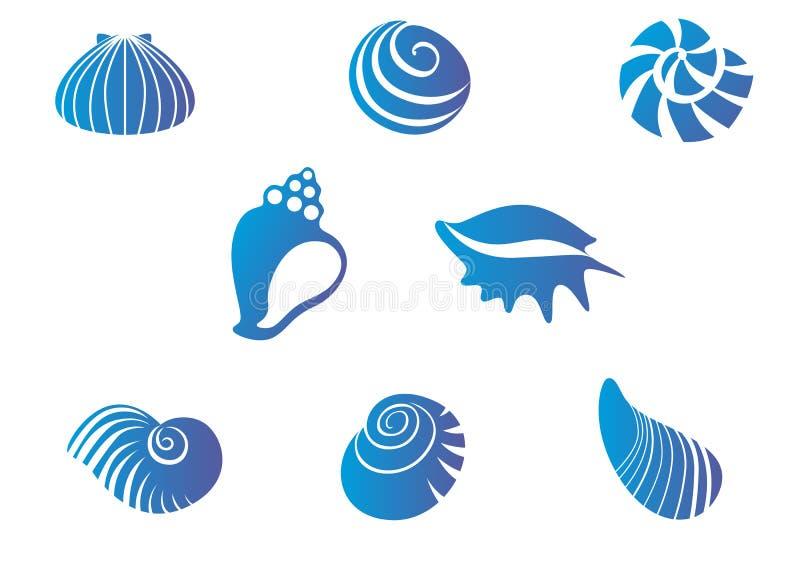 Set of seashells. Set of blue seashells isolated on white royalty free illustration