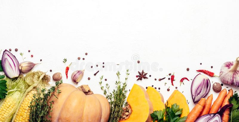 Set of seasonal vegetables on white background. Vegetarian food ingredients. Healthy farm products. Banner for site stock images
