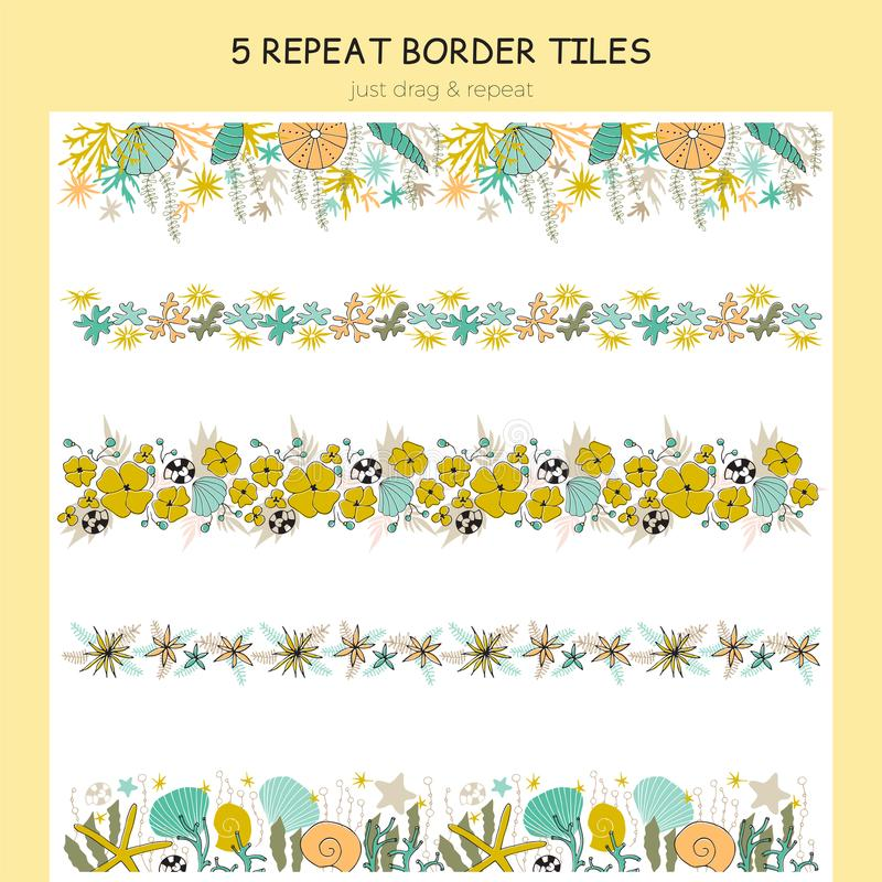 Set of seaweed repeat borders. Vector set of seaweed repeat borders. Flowers, corals and shells in arrangements. For greeting cards, stationery, surface design royalty free illustration