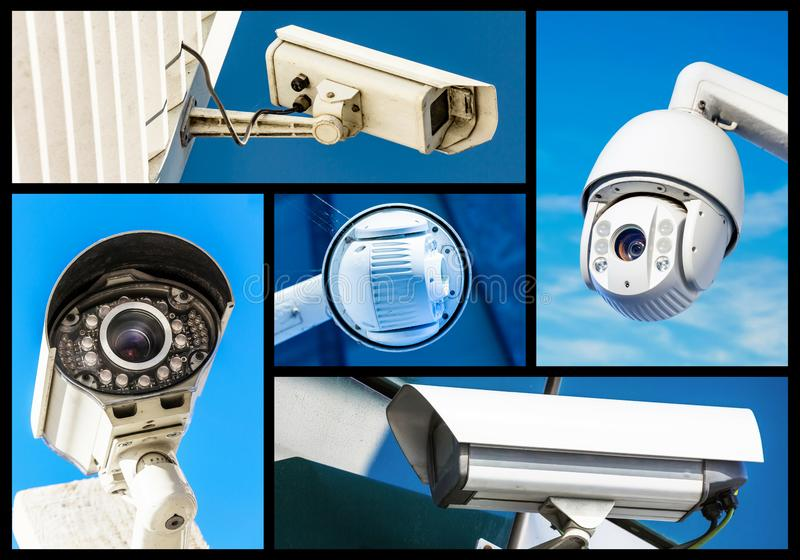 Set of security camera in various situation. Set of closeup security camera in various situation in blue background royalty free stock photo