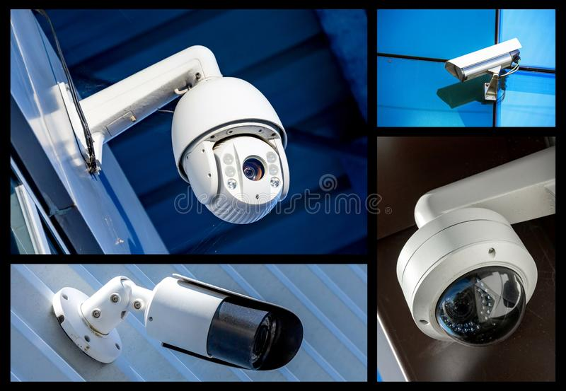 Set of security camera in various situation. Set of closeup security camera in various situation in blue background stock photography