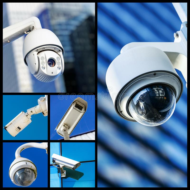 Set of security camera in various situation. Set of closeup security camera in various situation in blue background stock photo