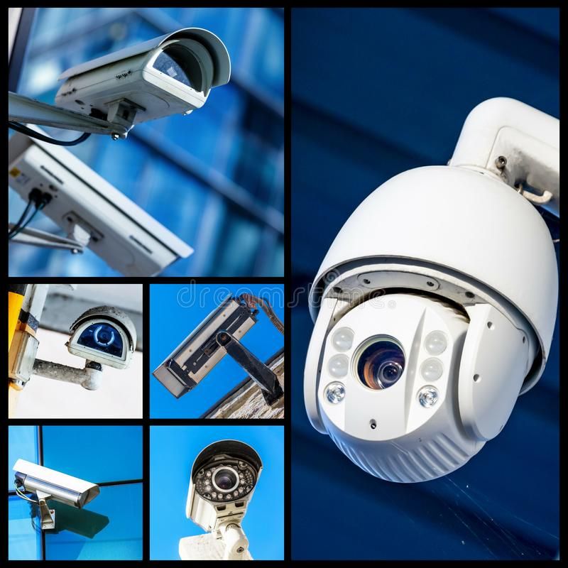 Set of security camera in various situation. Collage of many CCTV cameras with business buildings in the background royalty free stock photo