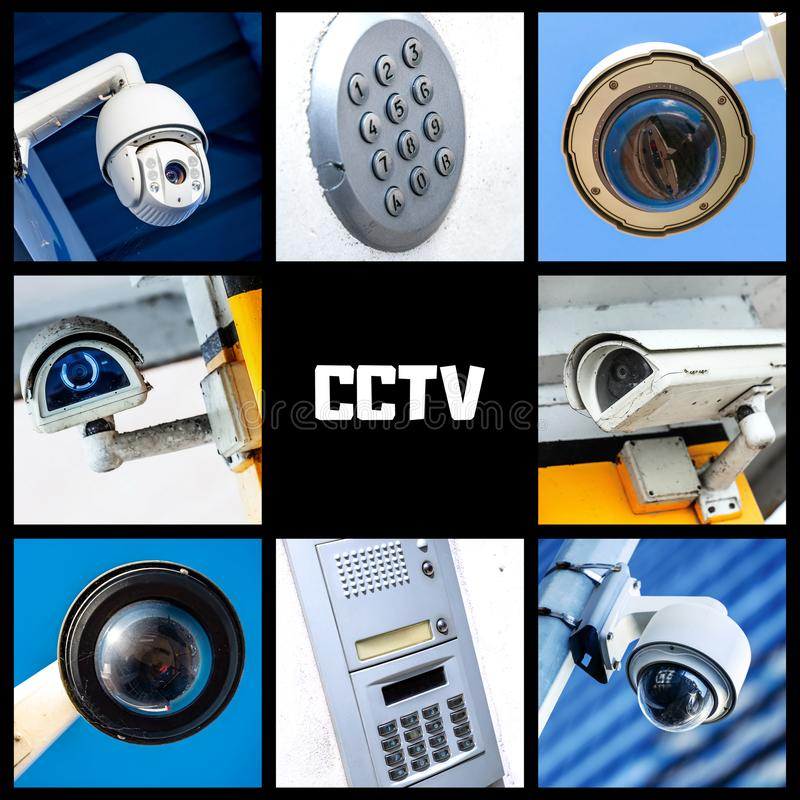 Set of security camera in various situation. Set of closeup security camera in various situation with copyspace royalty free stock photo