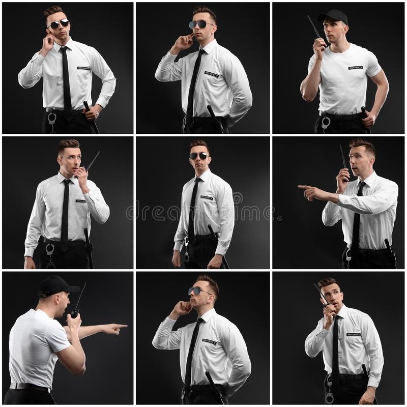 Set with security guard. On dark background royalty free stock photos