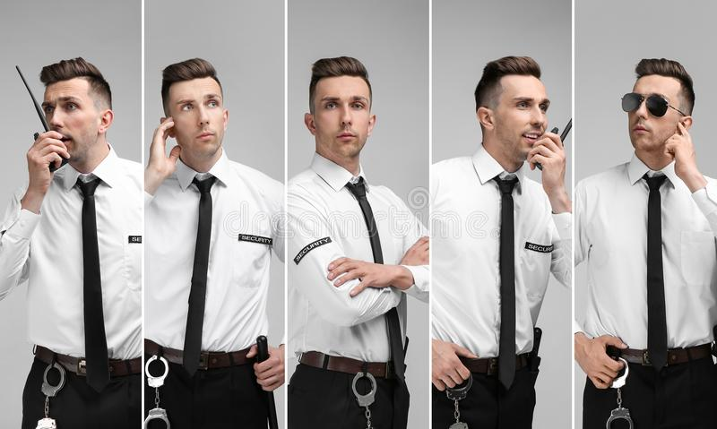 Set with security guard. On light background royalty free stock images