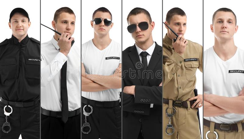 Set with security guard. On white background stock photos