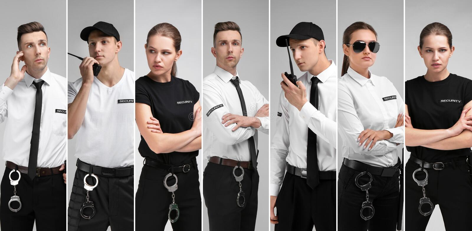 Set with security guards. On light background stock photography