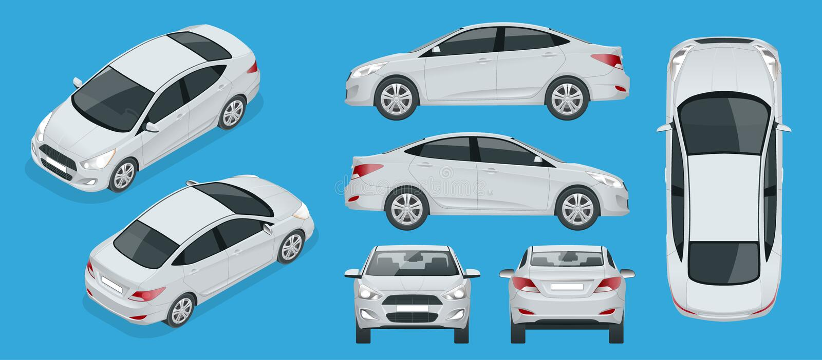 Set of Sedan Cars. Compact Hybrid Vehicle. Eco-friendly hi-tech auto. Isolated car, template for branding, advertising vector illustration