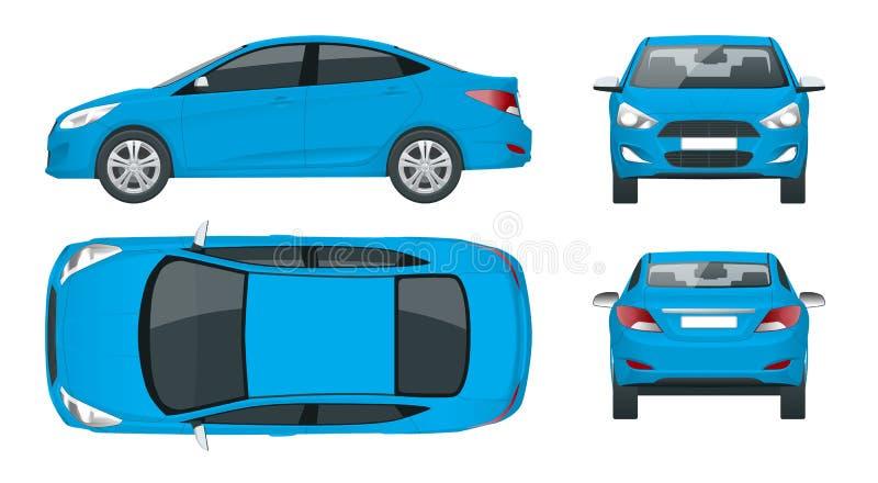 Set sedan samochody Ścisły Hybrydowy pojazd Życzliwy technika samochód Odosobniony samochód, szablon dla oznakować i ilustracji