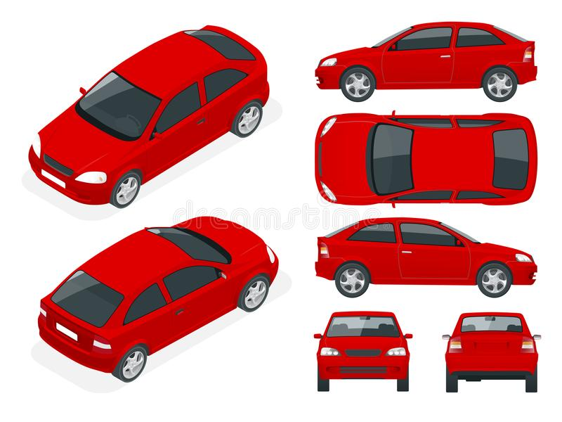 Set sedan samochody Odosobniony samochód, szablon dla samochodu oznakuje i reklamować, ilustracji