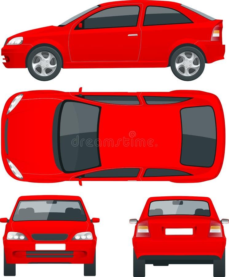 Set sedan samochody Odosobniony samochód, szablon dla samochodu oznakuje i reklamować, ilustracja wektor