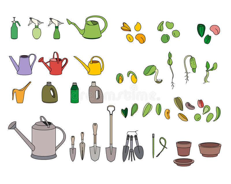 Set with seeds, garden tools and equipment. For your design royalty free illustration