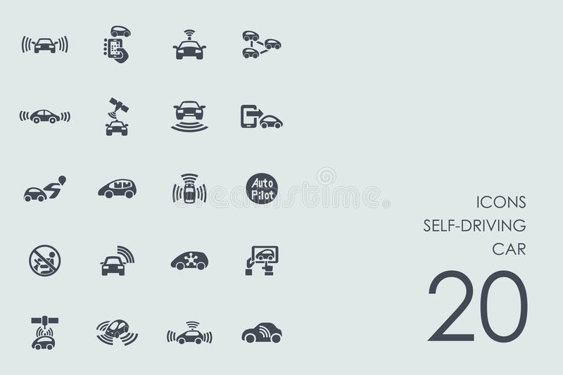 Set of self-driving car icons vector illustration