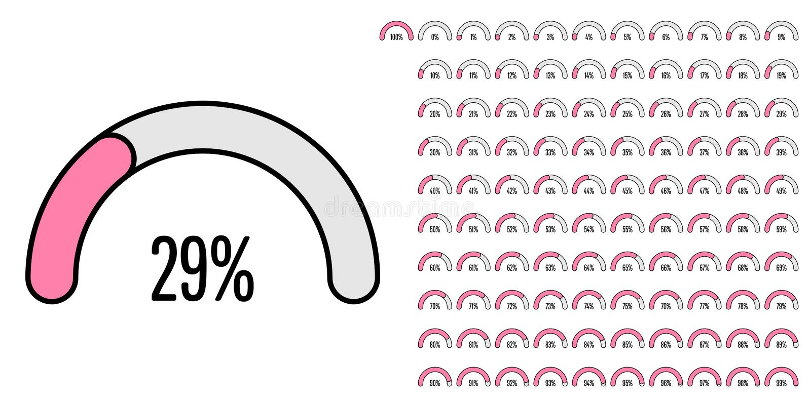 Set of semicircle percentage diagrams from 0 to 100. Set of semicircle percentage diagrams meters from 0 to 100 ready-to-use for web design, user interface UI or vector illustration