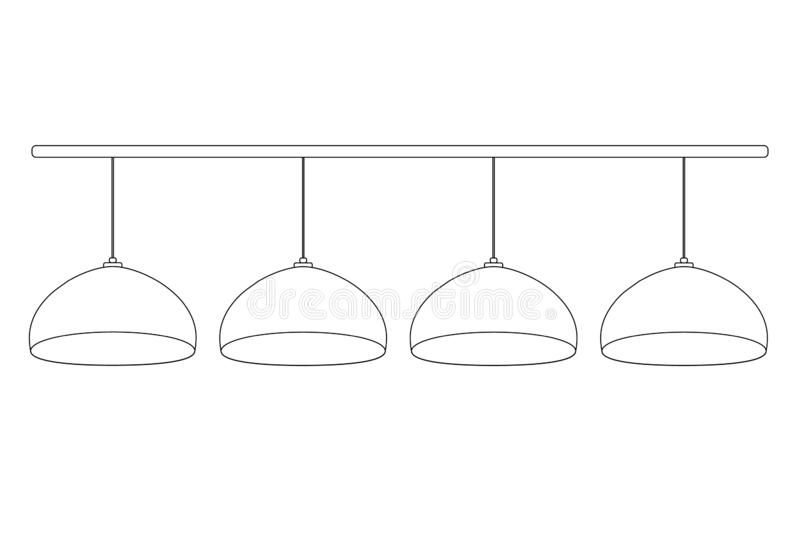 A set of 4 semicircular billiard bulbs hanging in a row on the wires on horizontal stick. Vector illustration pool lamps outline. For store icon templates for stock illustration