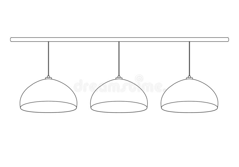 A set of  3 semicircular billiard bulbs hanging in a row on the wires on horizontal stick. Vector illustration pool lamps outline. For store icon templates for vector illustration