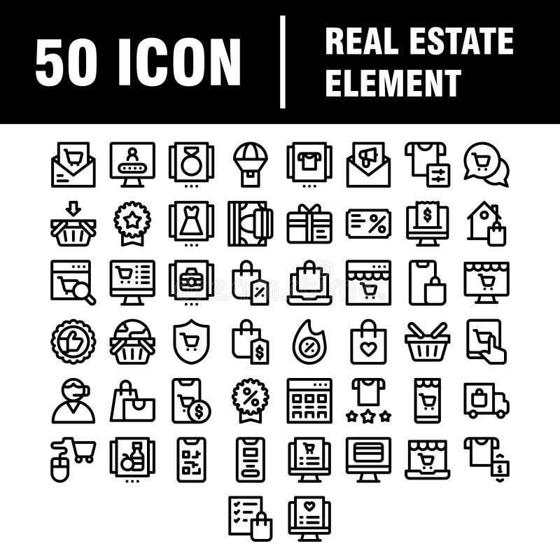 Set semplice di icone della linea vettoriale correlata agli immobili Contiene icone quali Map, Plan, Bedroom, Area, Bell e altro  royalty illustrazione gratis