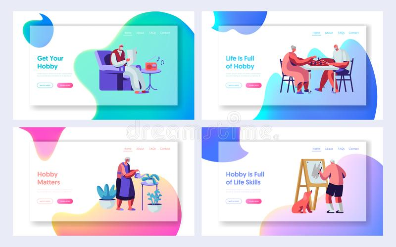 Set of Senior People Hobby and Active Lifestyle. Elderly Characters Recreation. Listening Music, Painting, Playing Chess, Knit. Website Landing Page, Web Page royalty free illustration