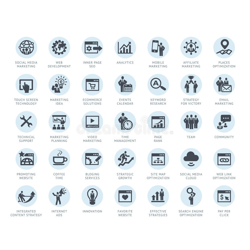 Download Set Of SEO Company Service And Internet Marketing Stock Vector - Illustration of internet, development: 32227585