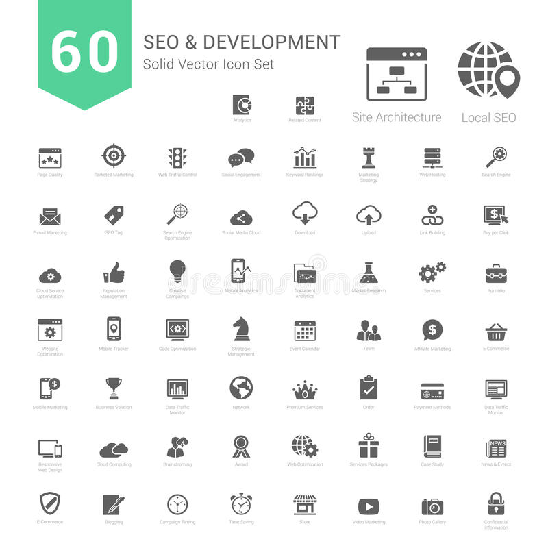 Set of SEO and Development icons solid style royalty free illustration