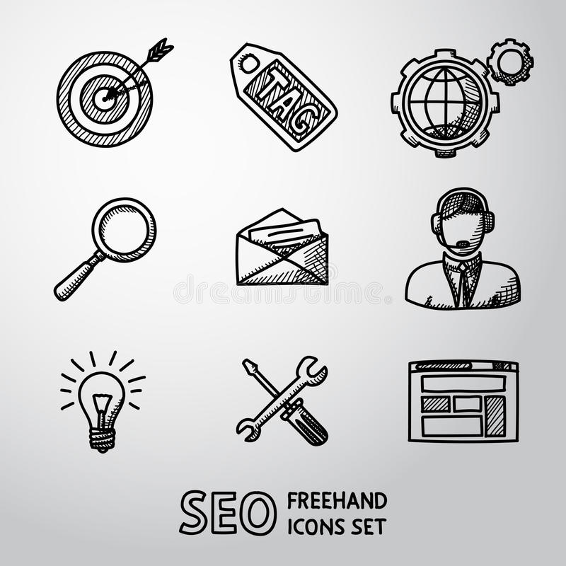 Set of SEO handdrawn icons - target with arrow. Tag and world, magnifier, mail, support, idea, instruments, site. Vector illustration vector illustration