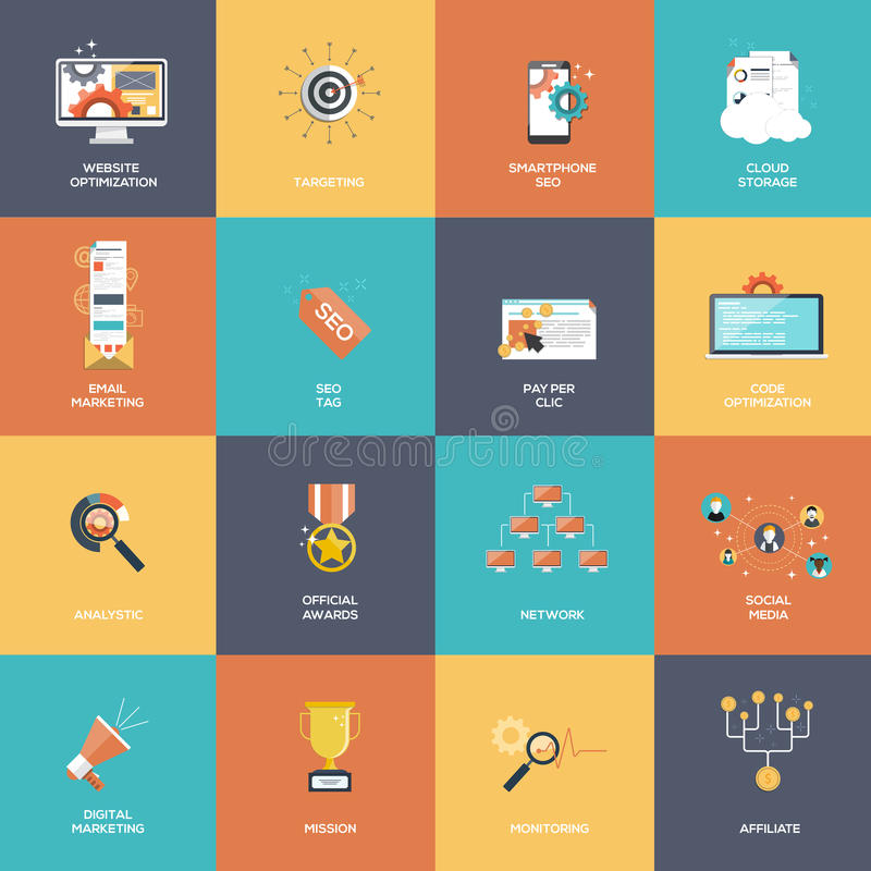 Set SEO i Marketingowe ikony royalty ilustracja