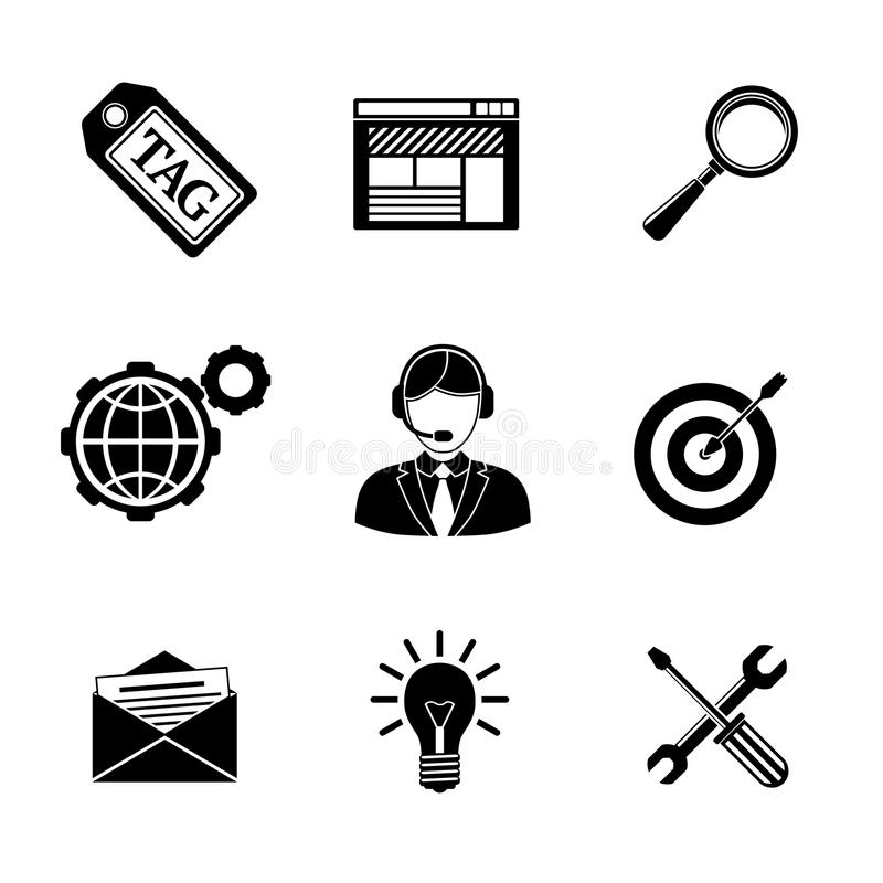 Set of SEO icons - target with arrow, tag, world. Set of SEO icons - target with arrow, tag and world, magnifier and mail, support, idea, instruments, site stock illustration